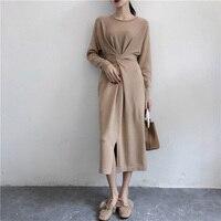 Nefeilike Winter Dresses for Women European Style Women Fall Dresses Knitted Long Sleeve High Slit Ribbed Dress