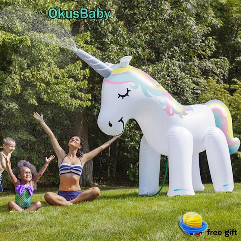 Dessin animé maison jardin PVC Animal parc aquatique gonflable en plein air plage enfants jouer à l'eau licorne jet d'eau jouets famille jeu