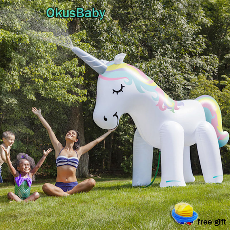 Summer Unicorn Home Garden PVC Animal Water Park Inflatable Outdoor Beach Toy Children Play Water Spray Water Toys Family Game