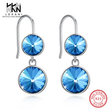Elegant Women Earrings Blue Crystals From Swarovski Hook Earring Top Quality 925 Sterling Silver Anniversary Party Fine Jewelry elegant women earrings blue crystals from swarovski hook earring top quality 925 sterling silver anniversary party fine jewelry