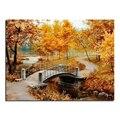 Осенний мост 80X60 оптовая продажа DIY Алмазная картина украшение дома горный хрусталь наклейки на стену вышивка рукоделие