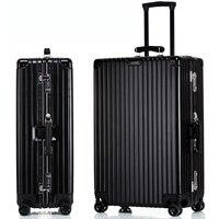 Leather Handle Aluminum Frame Rolling Suitcase Luggage Hardside Mala De Viagem Travel Trolley Koffer Valise Boarding