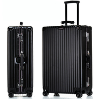 Leather Handle Aluminum Frame Rolling Suitcase Luggage Hardside Mala De Viagem Travel Trolley Koffer Valise Boarding