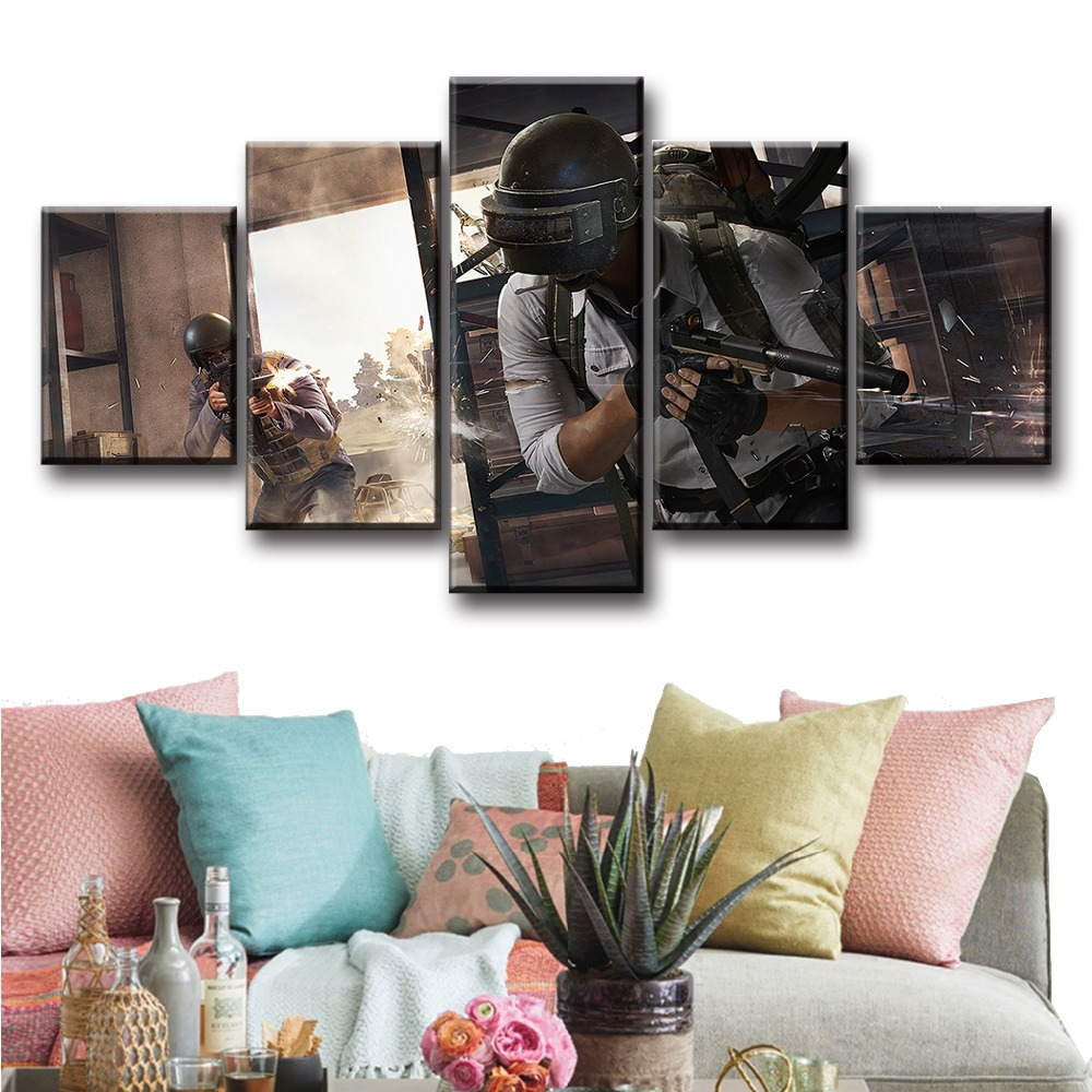 5 Piece Pubg Shooter Game Stimulate The Battlefield Poster And Prints Modern Decorative Art HD Wall Pictures for Home Decor