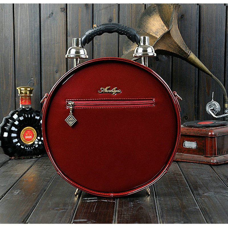 Red brown De Machine Mode Sacs Alarme Black Creative Sac À Épaule Messenger Ronde Femmes Vrai Bandoulière Vintage Horloge Réalisable Rue Temps Main wine qBqRwr