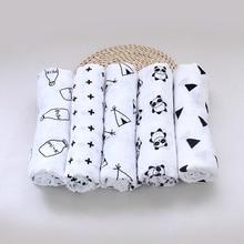 Muslin Multifunctional black white Baby Organic Cotton Swaddle Blankets Newborn Infant baby Swaddling blanket Triangle XO
