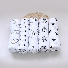 Muslin Multifunctional black white Baby Organic Cotton  Swaddle Blankets Newborn Infant baby Swaddling blanket Triangle XO Swiss