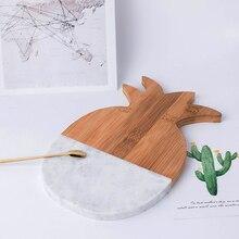 Натуральный Мрамор бамбуковая доска блюдо торт фруктовый десерт блюдо для суши разделочные доски Coaster Сумасшедший декоративная тарелка кухонные инструменты