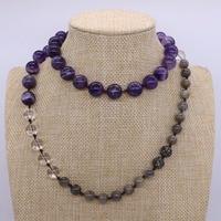 Perlas naturales de cristal de múltiples collar de piedra natural cristal blanco púrpura joyas de cristal para las mujeres 1893