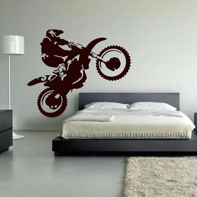 モトクロスビニール壁デカールオートバイモトウォールアートホームステッカーリビングルームベッドヘッドステッカーため 3YD30