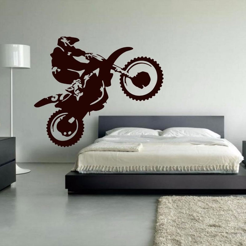 Motocross Vinyl Wall Decal Motorcycle Moto Wall Art Home Decals For Living Room Cool Bedhead Sticker For Boy 3YD30-in Wall Stickers from Home & Garden