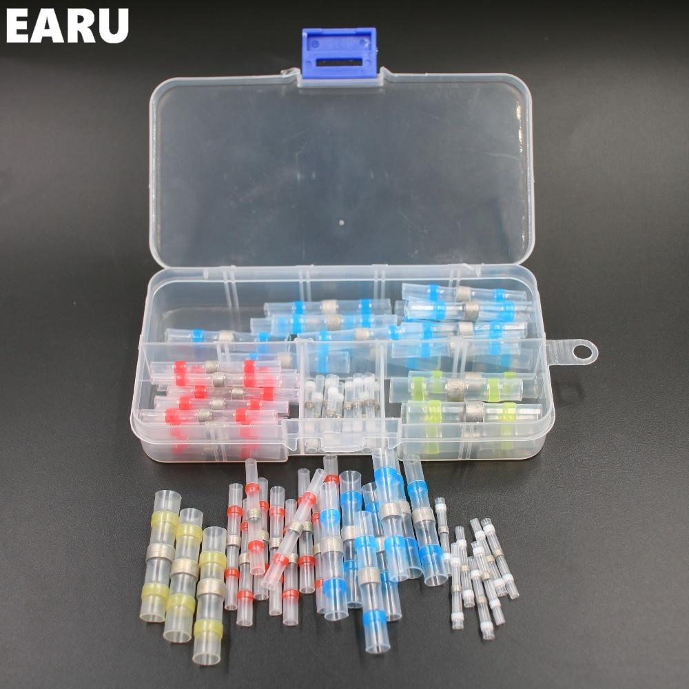 50 stücke New Schrumpf Löten Hülsen Kabel Draht Crimp Butt Terminals Anschlüsse mit Box Kit 1,5-6,0mm Schnellverbindungsstecker