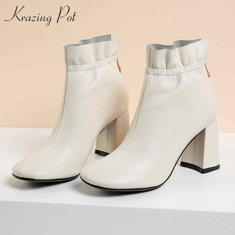 Krazing pot genuine leather round toe lace up ruffles ankle boots brand women shoes causal gladiator