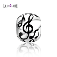Everbling Jewelry Round Musical Notes100 925 Sterling Silver Charm Bead Fits Pandora European Charms Bracelet