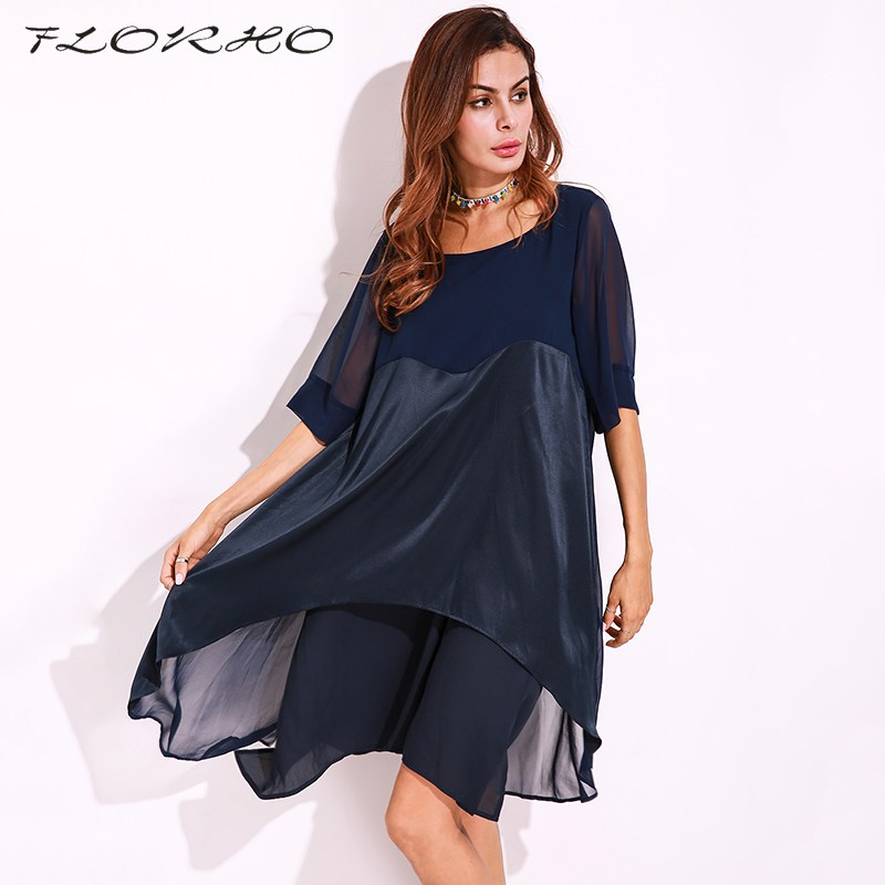 d63e22412c38a FLORHO Elegant Womens Dresses Beading Mesh Sleeve Tunic Dress Autumn Summer  Solid Navy Boat Neck Long Sleeve A Line Dress Female-in Dresses from  Women s ...