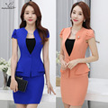 2016 Women skirt suits styles Business formal office ladies elegant short sleeve blazer with skirt plus size work wear