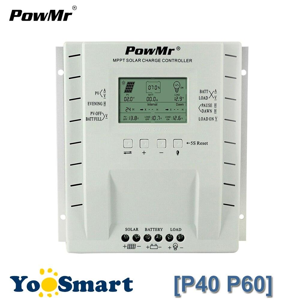 PowMr 40A 60A MPPT PV Charge Et Décharge contrôleur solaire 12 V 24 V régulateur de batterie système de panneaux solaires 100 V 780 W/ 1560 W Entrée