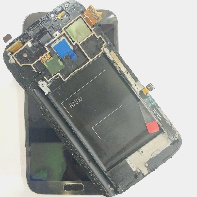 Pour Samsung Note 2 N7100 N7105 T889 i317 i605 L900 LCD écran tactile numériseur avec assemblage de cadre remplacer 100% testé