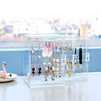 Earring Jewelry Make up Rack Acrylic Storage Box Bag Storing Cleaning Case Packet Pack for Household