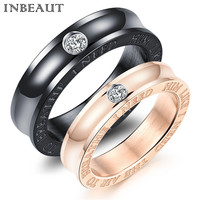 INBEAUT Black Rose Gold Titanium Steel Princess Cut Zircon Stone Wedding Rings For Women Love Promise