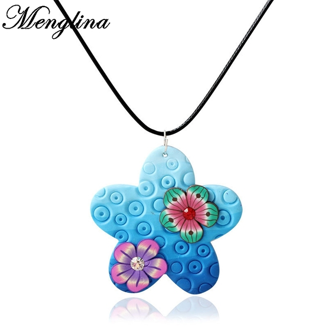 Menglina fashion multicolor blue flower fimo polymer clay pendant menglina fashion multicolor blue flower fimo polymer clay pendant necklace for children kids jewelry girls lovely mozeypictures Images