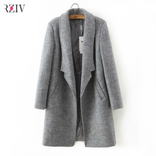 2017 femmes hiver automne veste longues femmes manteau mince costume col long style soild de laine manteau femme veste