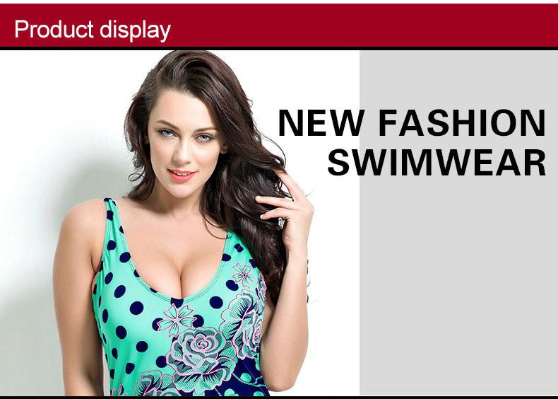 Latest ! Vintage Pad Swimwear Women Retro Plus Size One Piece Swimsuit Dress 4XL Floral Dot Backless Soft Bathing Suit F1692 2