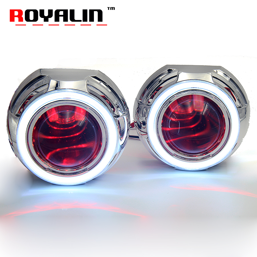 ROYALIN Bi-Xenon Lens Projector Light Metal w/ COB Angel Eyes Halo Rings 95mm LED Demon Eyes White Red Blue for H1 H4 H7 Auto royalin car styling hid h1 bi xenon headlight projector lens 3 0 inch full metal w 360 devil eyes red blue for h4 h7 auto light