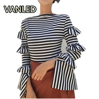 2017 New Autumn Chic Fashion Layer Lotus Leaf Long Sleeve Stripe Slim Woman Knitting Sweater