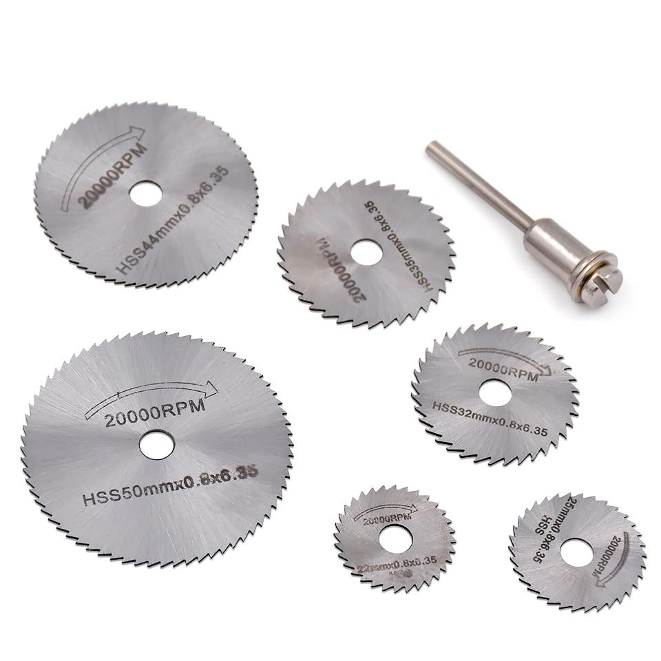 6бр HSS циркуляри за ножове метални дървени режещи дискове Дискови дървообработващи шлифовъчни комплекти за аксесоари за режещ инструмент Dremel с въртящи се инструменти