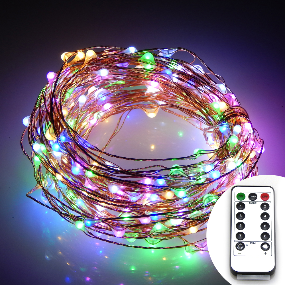 39Ft 12m 240ed Waterproof Battery Operated LED String Lights Chrismas Copper Wire Fairy Lights+13Key Remote Control 8Modes ...