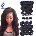 Brazilian Virgin Hair With Frontal Closure Body Wave 3 Bundles With Closure Bleached Knots Virgin Hair With Lace Frontal Closure