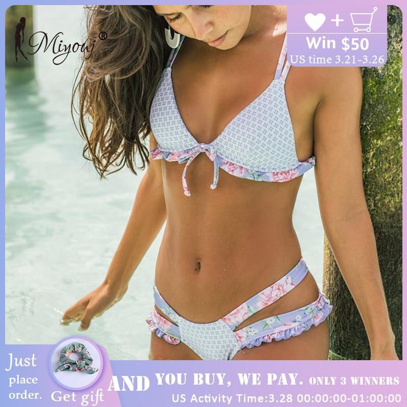 Sport & Unterhaltung Schwimmen Miyouj Rüschen Floral Bikini 2018 Badeanzug Bandage Bogen Bademode Weibliche Biquini Feminino 2018 Badeanzug Push Up Sexy Bikini Set