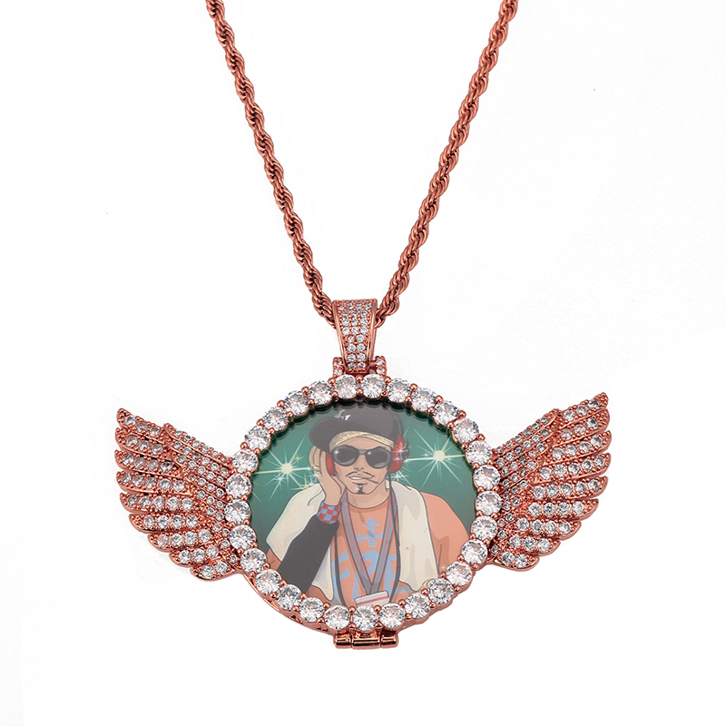 Personalized Custom Photo Necklace Angel Wings Necklace Pendant Cubic Zircon Tennis Chain//Rope Chain Hip hop Jewelry Customized Angel Wings Picture Locket Necklace for Men Women