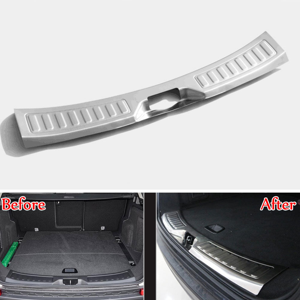 BBQ@FUKA Car Rear Trunk Door Sill Scuff Plate Protect Cover Trim Styling Sticker Fit For Land Rover Discovery Sport 2015 car rear trunk security shield cargo cover for land rover discovery 4 lr4 2010 2016 high qualit black beige auto accessories