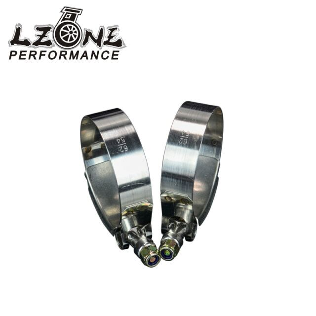 LZONE RACING - (2PC/LOT) SS304 CLAMPS 2 INCH (54-62)STAINLESS SILICONE TURBO HOSE COUPLER T BOLT CLAMP KIT JR5250