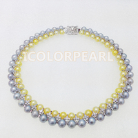 Most Fashionable Necklace From China!Two row 8 9mm Real Natural Nearround Freshwater Pearl Wedding Jewelry Necklace