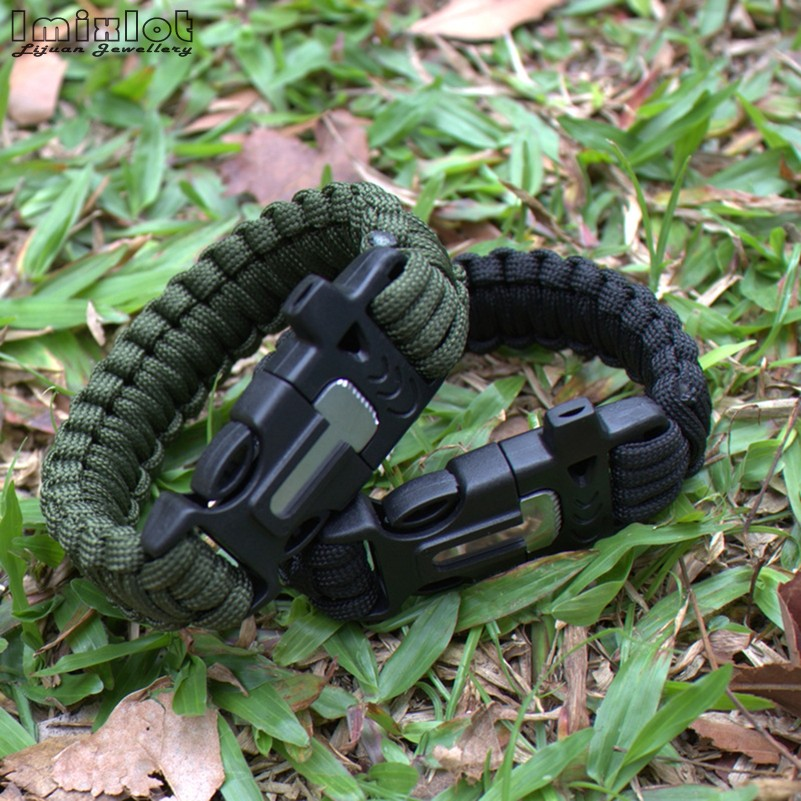 Braided Bracelet Men Multi-function Paracord Survival Bracelet Outdoor Camping Rescue Emergency Rope Bracelets JBA0223
