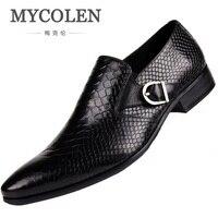 MYCOLEN/Новые Мужские модельные туфли из натуральной кожи высокого качества, деловые мужские туфли с острым носком, Классические свадебные муж