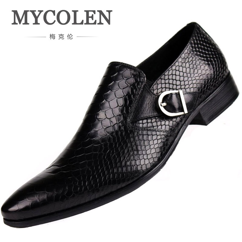MYCOLEN New Genuine Leather Men Dress Shoes High Quality Business Men Shoes Pointed Toe Classic Wedding Men Shoes Ayakkabi classic men s genuine leather shoes cowhide leather pig inner pointed toe derby dress wedding business shoes 2018 fashion