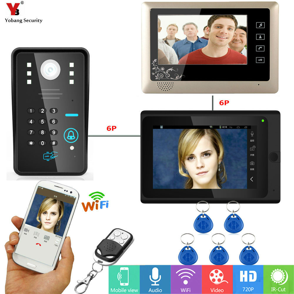 Yobang Security 7inch Video Record WIFI Video Doorbell With Indoor Monitor APP RFID&APP Control Door Phone Door Video intercom