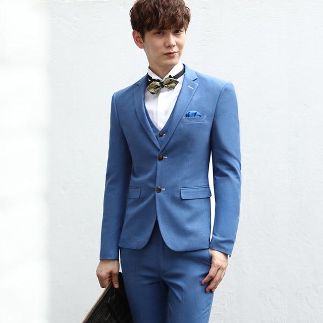 Online Shop Unique Blue Men Suit Jacket Vest Pants Slim Fit ...