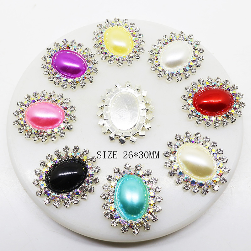 10pcs/set 26mm*30mm Oval Diamond Rhinestone Pearl Buttons for Wedding Child Hair Bow Jewelry Accessories Craft Decorative