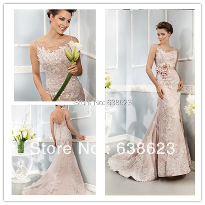 High Quality Blush Lace Wedding Dress Mermaid-Buy Cheap Blush Lace ...