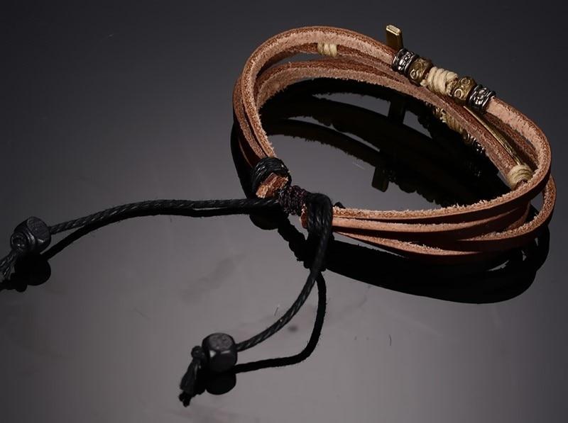 Topdudes.com - Genuine Leather Cross Bangles Adjustable Rope Chain Bohemian Bracelet
