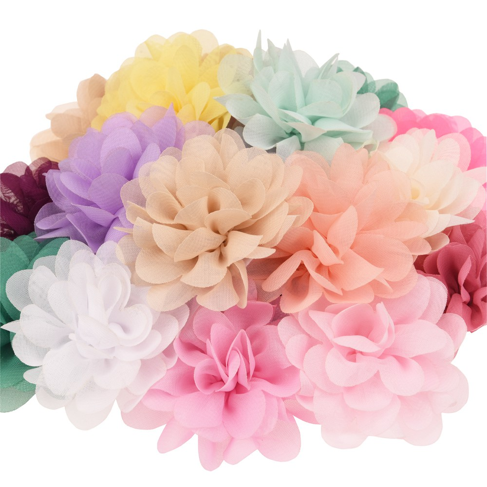 22 шт. атласный цветок DIY аксессуары для волос Ткань Цветы 7 см шифон цветок аксессуары для волос и головы обёрточная бумага без луки без заколка лук