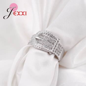 Latest 925 Sterling Silver Rings AAA Cubic Zircon CZ Stone Belt Buckle Design Lovely Women's Big Party Accessories 2
