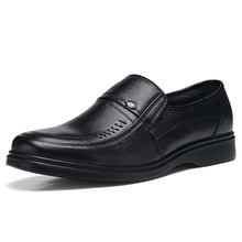 Men Genuine Cow Leather Business Casual Shoes Soft Insole Comfort Wear for Middle Age Father Gift for Autumn Summer