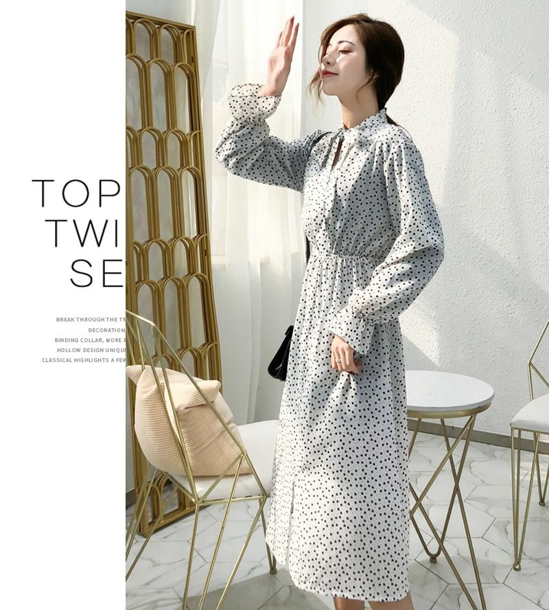 BGTEEVER Elegant Stand Collar Polka Dot Women Dress Flare Sleeve Side Split Female Dress 19 Autumn Women Midi Vestidos 10