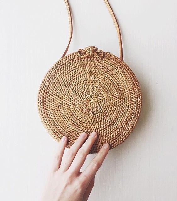 Zhierna Women Handbag Summer Beach Tote Circle Bag Handmade Rattan Woven Round Vintage Retro Straw